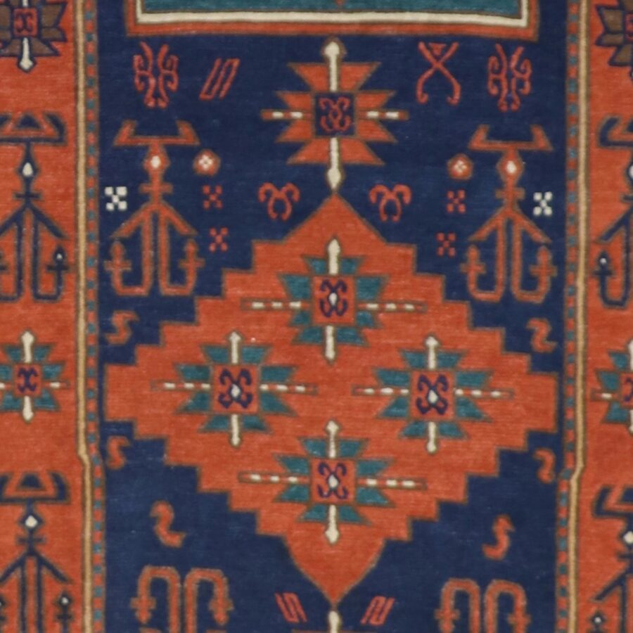 """6'2""""x9'1"""" Traditional Orange Wool Hand-Knotted Rug - Direct Rug Import 
