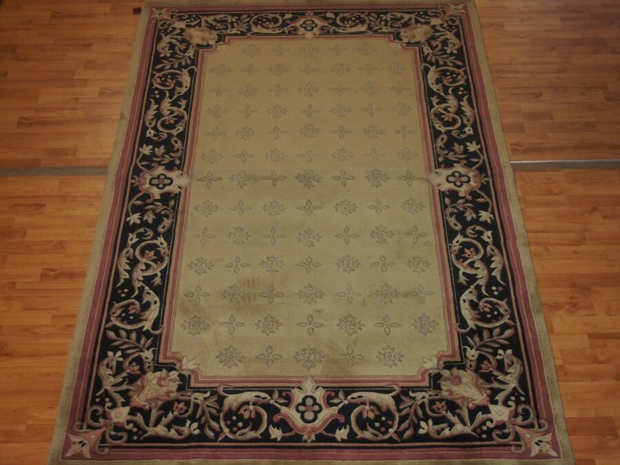 5' X 8'2'' Abusson Frame Traditional Hand-knotted Black,Gold,Pink Rectangle Wool Rug - Direct Rug Import | Rugs in Chicago, Indiana,South Bend,Granger
