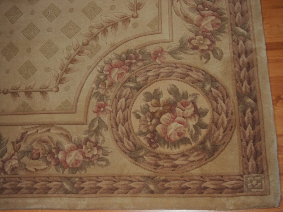 6' X 8'2'' Abusson Tone-on-Tone Traditional Hand-knotted Tan,Pink Rectangle Wool Rug - Direct Rug Import   Rugs in Chicago, Indiana,South Bend,Granger