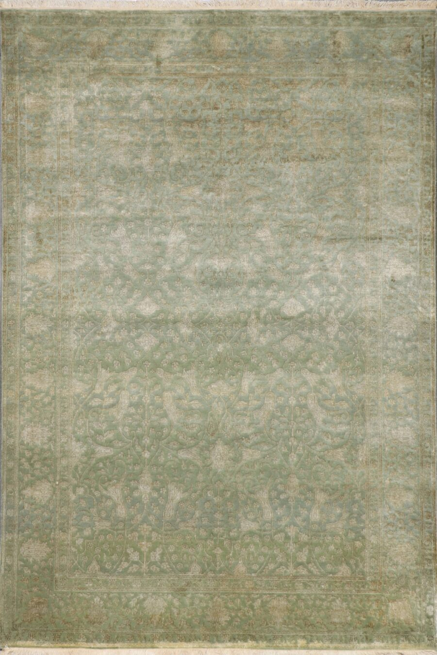 """6'x8'9"""" Transitional Green Wool & Silk Hand-Knotted Rug - Direct Rug Import 