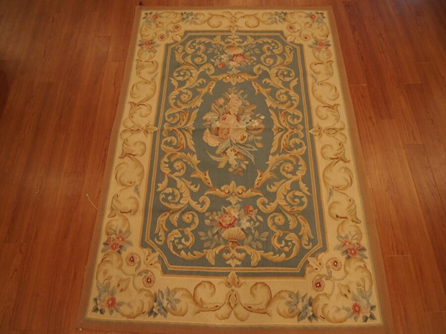 4' X 6' Abusson Gold Scroll Curvilinear Traditional Hand-knotted Gold Rectangle Wool Rug - Direct Rug Import   Rugs in Chicago, Indiana,South Bend,Granger