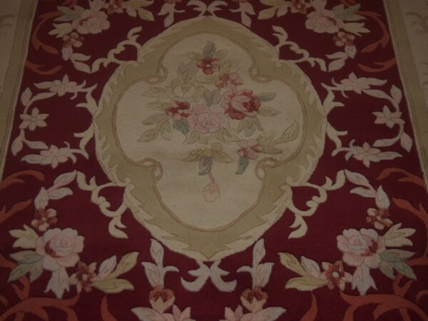 5' X 8' Abusson Regal Rose Medallion Traditional Hand-knotted Cream,Pink Rectangle Wool Rug - Direct Rug Import   Rugs in Chicago, Indiana,South Bend,Granger