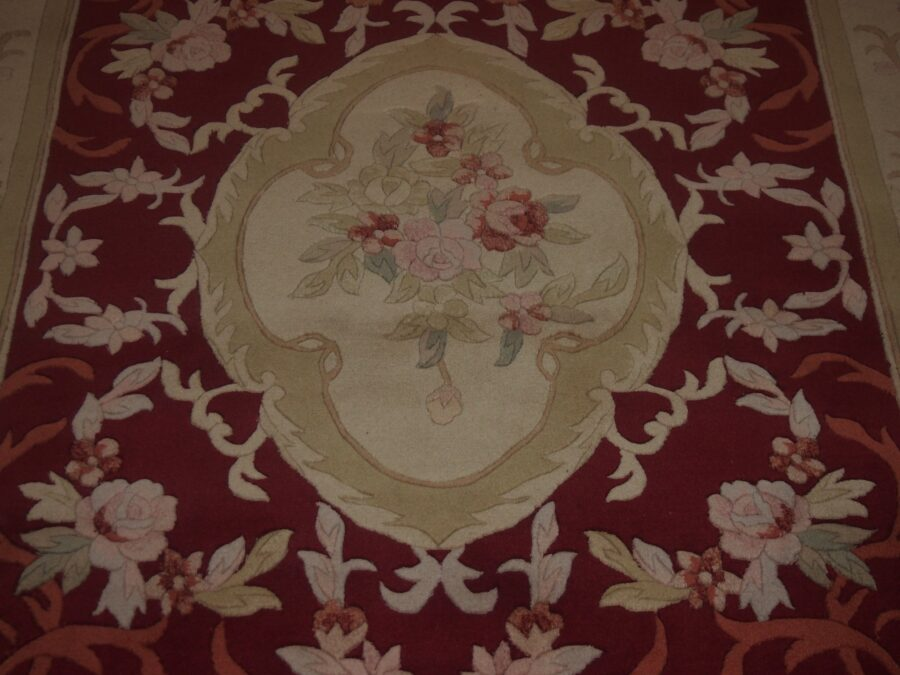 5' X 8' Abusson Regal Rose Medallion Traditional Hand-knotted Cream,Pink Rectangle Wool Rug - Direct Rug Import | Rugs in Chicago, Indiana,South Bend,Granger