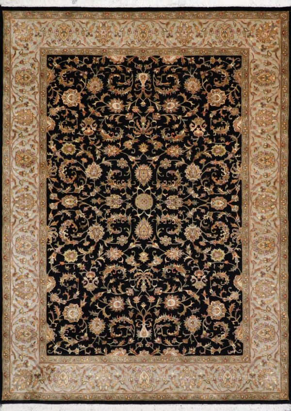 """5'5""""x7'6"""" Traditional Black Wool & Silk Hand-Knotted Rug - Direct Rug Import 