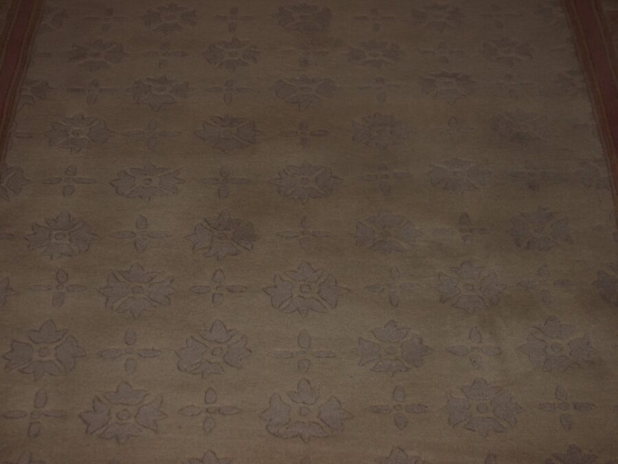 5'2'' X 8' Abusson Frame Traditional Hand-knotted Tan,Pink Rectangle Wool Rug - Direct Rug Import   Rugs in Chicago, Indiana,South Bend,Granger