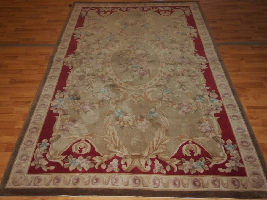 5' X 7'1'' Abusson Gold Floral Traditional Hand-knotted Red,Rust,Beige Rectangle Wool Rug - Direct Rug Import   Rugs in Chicago, Indiana,South Bend,Granger