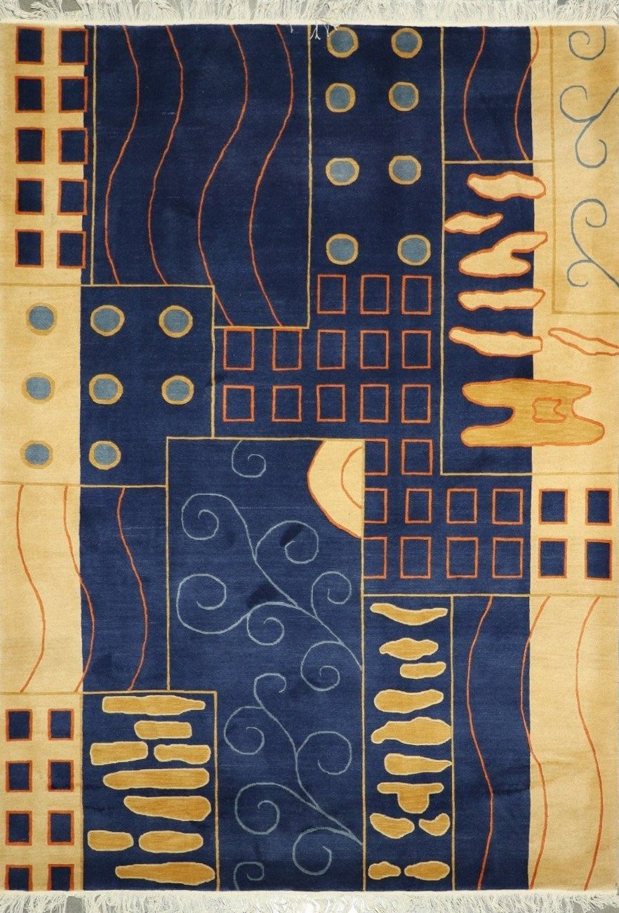 """5'7""""x8'2"""" Contemporary Cream Wool Hand-Knotted Rug - Direct Rug Import   Rugs in Chicago, Indiana,South Bend,Granger"""
