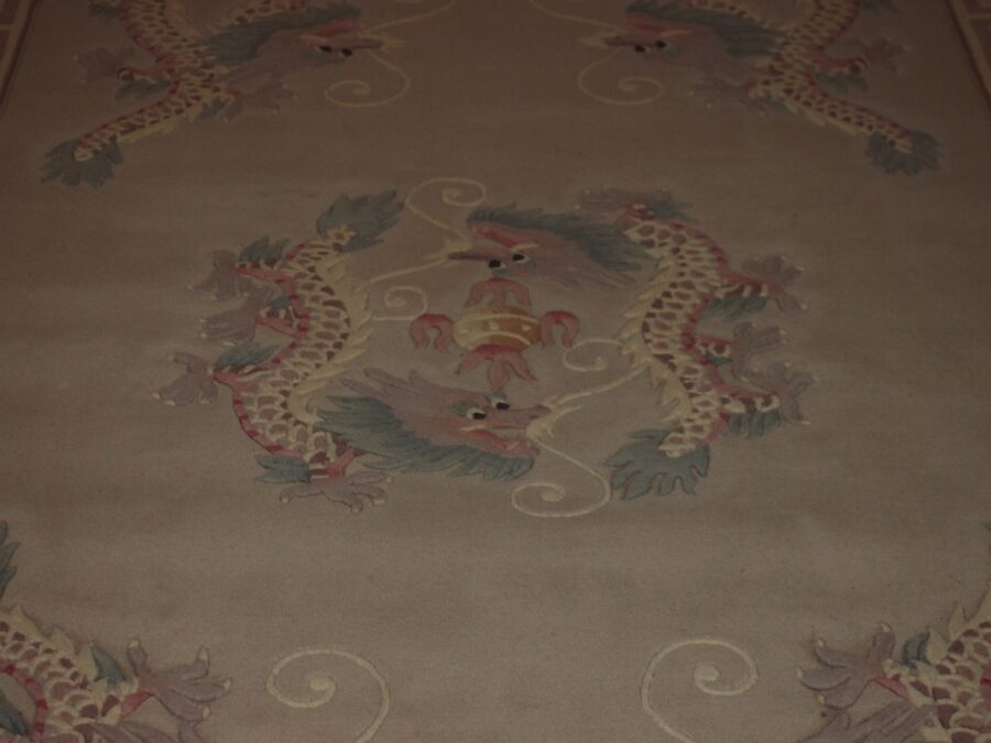 6' X 9' Abusson Dragon Frame Traditional Hand-knotted Ivory,Pink,Green Rectangle Wool Rug - Direct Rug Import   Rugs in Chicago, Indiana,South Bend,Granger