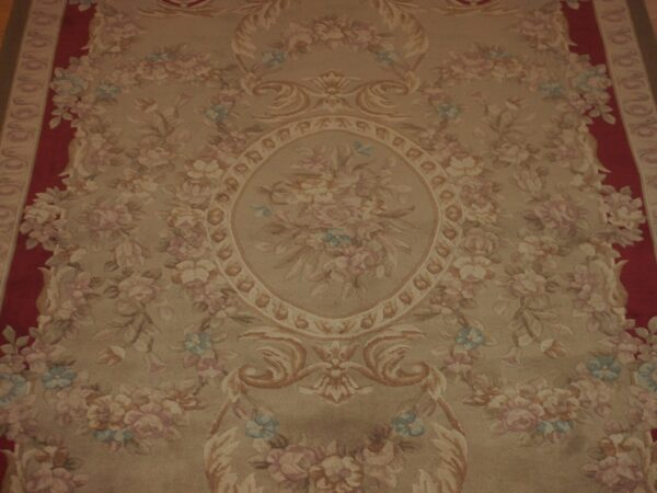 5'1.1'' X 9' Abusson Medallion Traditional Hand-knotted Tan Rectangle Wool Rug - Direct Rug Import   Rugs in Chicago, Indiana,South Bend,Granger