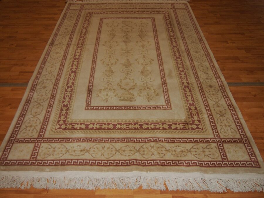 6'1'' X 9'1'' Abusson Vase Tone-on-Tone Traditional Hand-knotted Red,Gold Rectangle Wool Rug - Direct Rug Import | Rugs in Chicago, Indiana,South Bend,Granger