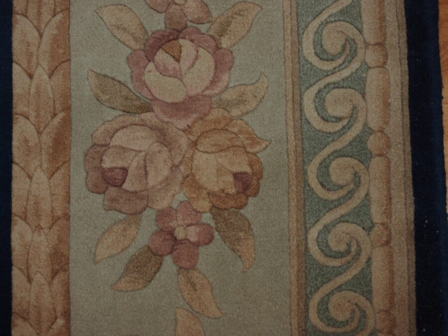 6'5'' X 9'11'' Abusson Frame Traditional Hand-Knotted Cream,Peach Rectangle Wool Rug - Direct Rug Import   Rugs in Chicago, Indiana,South Bend,Granger