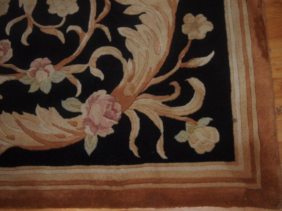 4'1'' X 7'1'' Abusson Roses Curvilinear Traditional Hand-knotted Gold,Beige,Pink Rectangle Wool Rug - Direct Rug Import   Rugs in Chicago, Indiana,South Bend,Granger