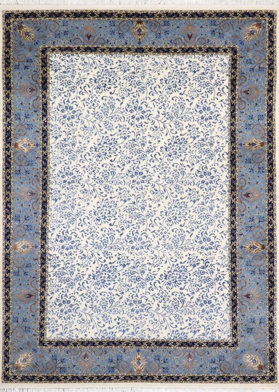 """5'8""""x8' Transitional Ivory Wool & Silk Hand-Knotted Rug - Direct Rug Import 