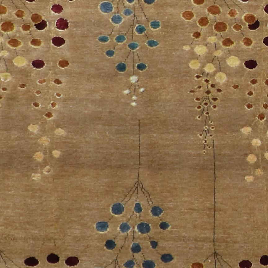 """2'1""""x10'1"""" Decorative Brown & Blue Wool & Silk Hand-Knotted Rug - Direct Rug Import   Rugs in Chicago, Indiana,South Bend,Granger"""