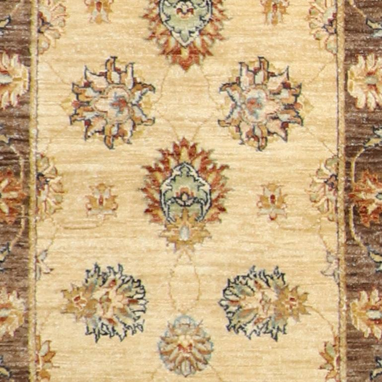 """2'6""""x11'9"""" Traditional Tan & Brown Hand-Spun Wool Hand-Knotted Rug - Direct Rug Import 