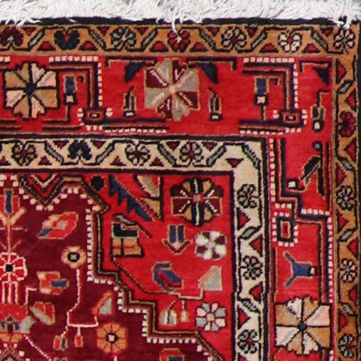 """3'9""""x10'10"""" Traditional Persian Red & Tan Wool Hand-Knotted Rug - Direct Rug Import 