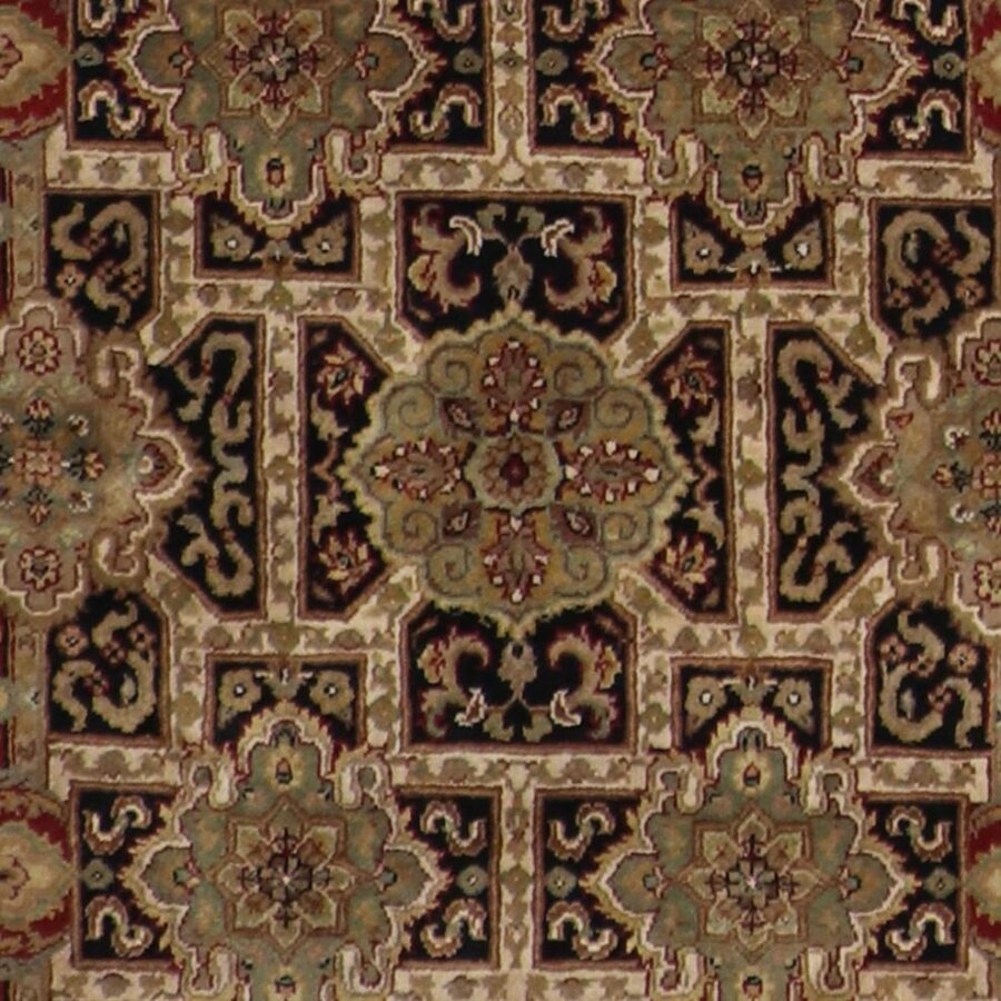 """4'x6'2"""" Traditional Black, Red Wool Hand-Knotted Rug - Direct Rug Import   Rugs in Chicago, Indiana,South Bend,Granger"""