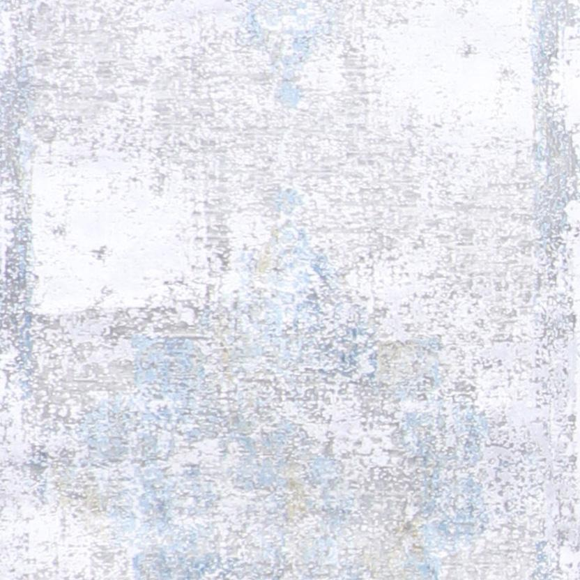 """2'7""""x9'10""""Transitional Gray & Silver Wool & Silk Hand-Finished Rug - Direct Rug Import   Rugs in Chicago, Indiana,South Bend,Granger"""