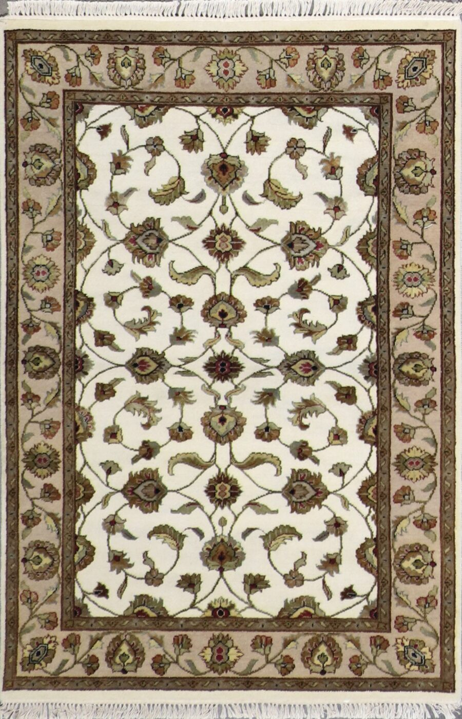 """4'x6'2"""" Traditional Ivory Wool & Silk Hand-Knotted Rug - Direct Rug Import 