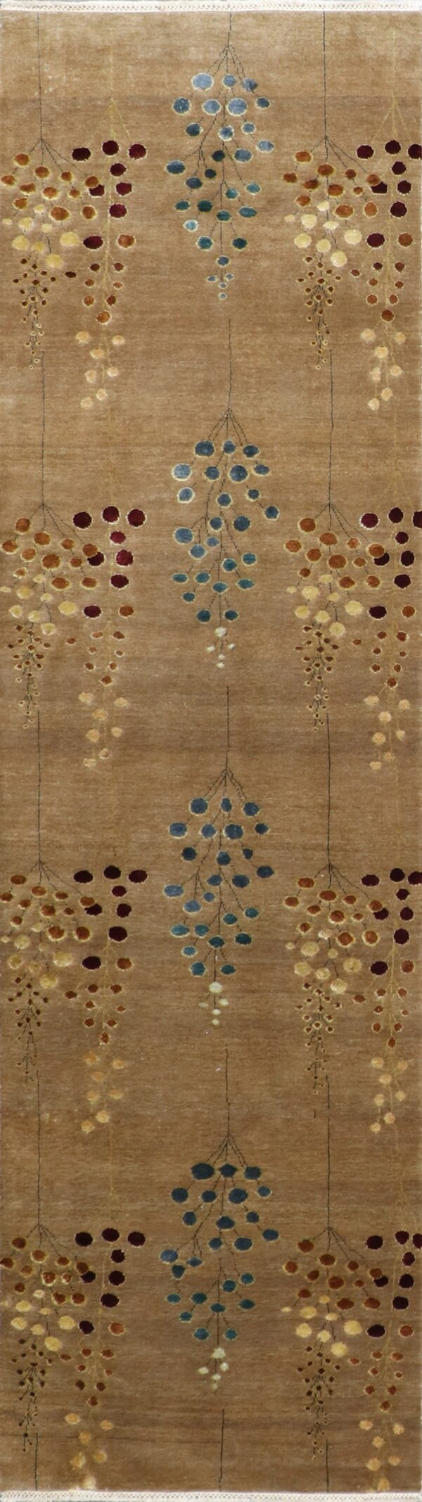 """2'1""""x10'1"""" Decorative Brown & Blue Wool & Silk Hand-Knotted Rug - Direct Rug Import 