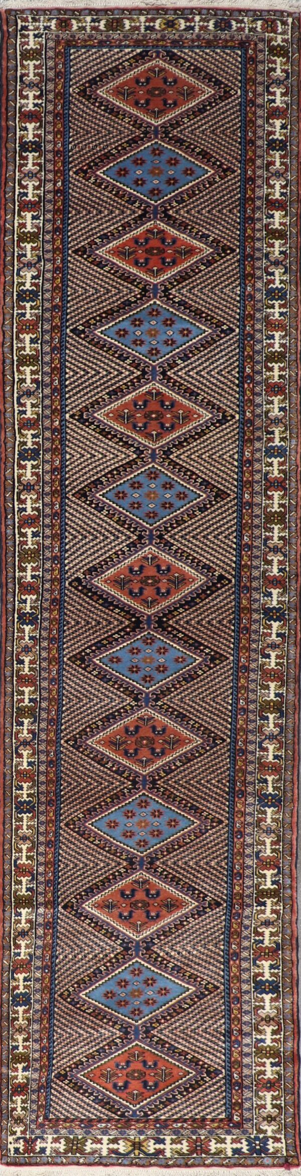 """2'10""""x13' Decorative Brown & Blue Wool Hand-Knotted Rug - Direct Rug Import 
