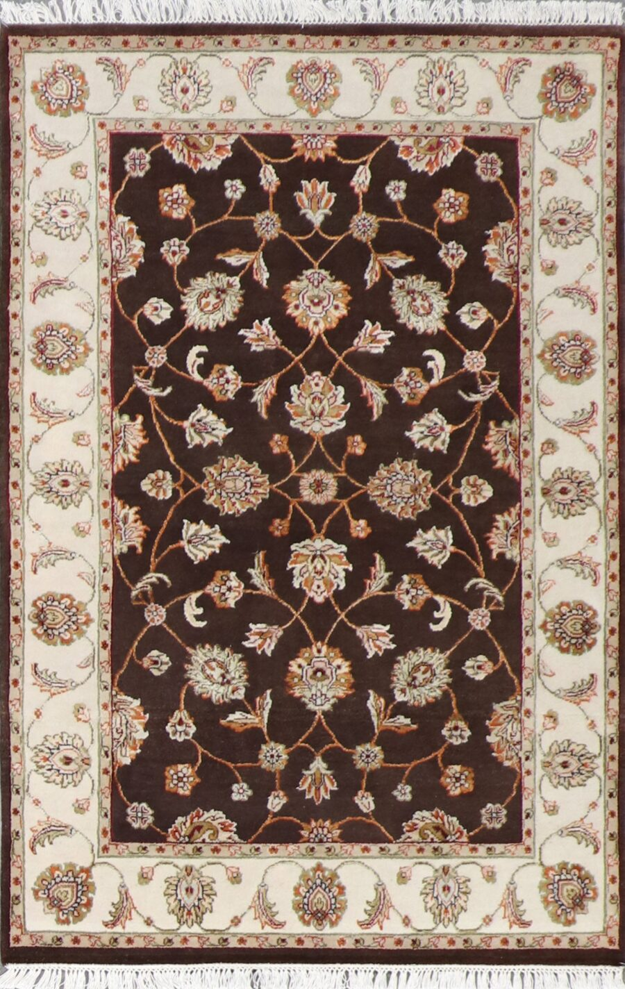 """4'x6'2"""" Decorative Brown Wool & Silk Hand-Knotted Rug - Direct Rug Import 