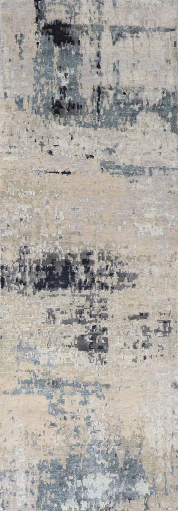 """4'x11'10"""" Contemporary Tan&Gray & Blue Wool & Silk Hand-Knotted Rug - Direct Rug Import   Rugs in Chicago, Indiana,South Bend,Granger"""