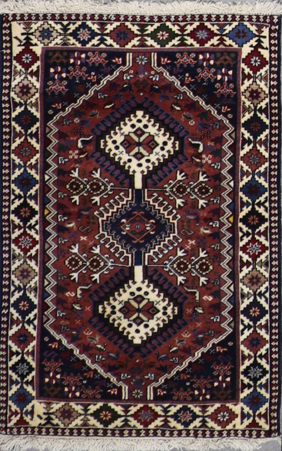 """2'8""""x4'3"""" Traditional Persian Brown & Ivory Wool Hand-Knotted Rug - Direct Rug Import 