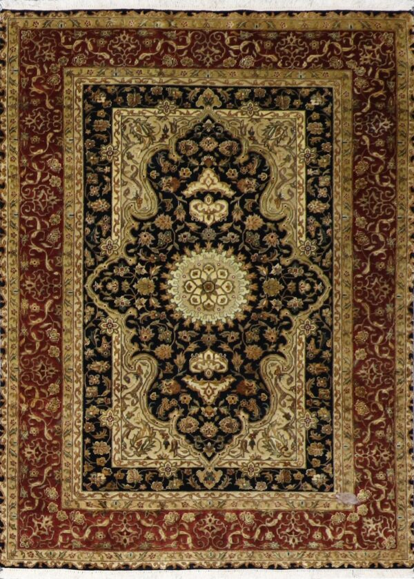 """4'4""""x6'1"""" Traditional Tabriz Black Wool&Silk Hand-Knotted Rug - Direct Rug Import   Rugs in Chicago, Indiana,South Bend,Granger"""