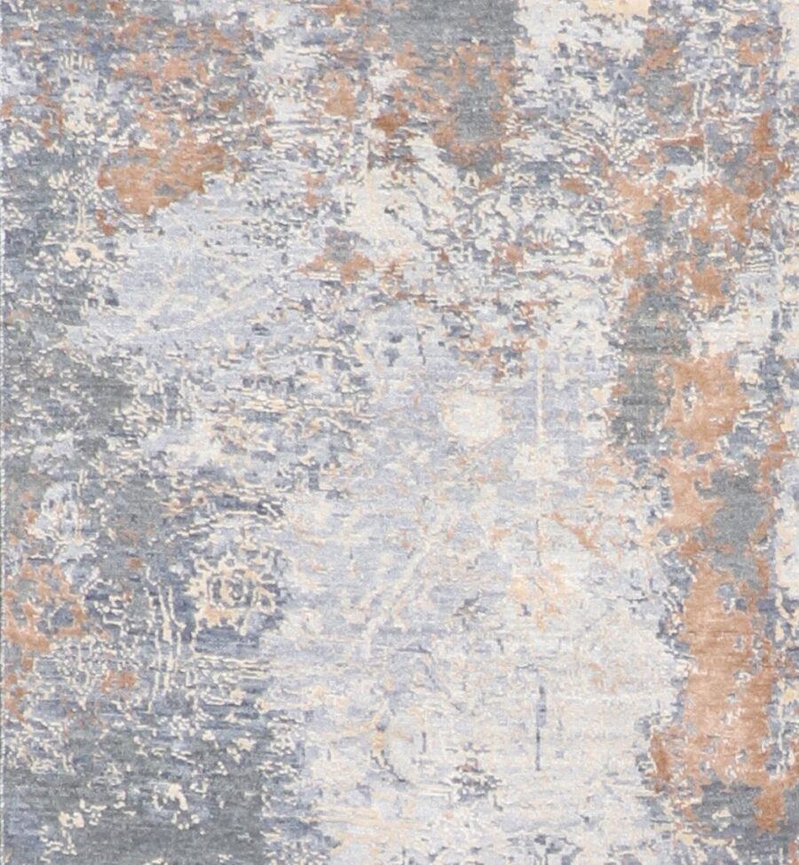 """2'7""""x10' Transitional Gray Wool & Silk Hand-Knotted Rug - Direct Rug Import 