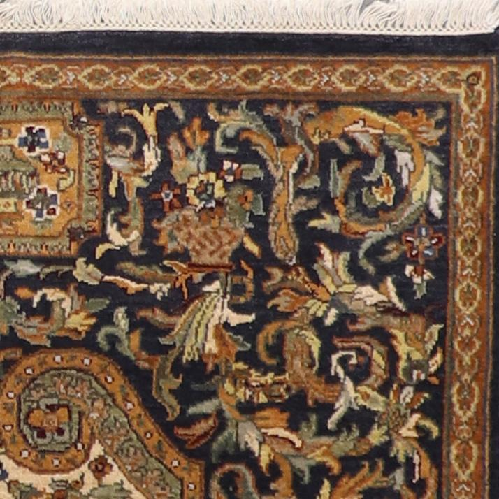 """4'x6'1"""" Traditional Black Wool Hand-Knotted Rug - Direct Rug Import   Rugs in Chicago, Indiana,South Bend,Granger"""