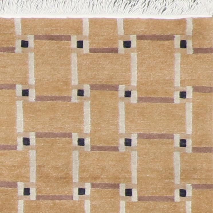 """4'1""""x6'2"""" Contemporary Brick Broen Tibetan Wool Hand-Knotted Rug - Direct Rug Import 