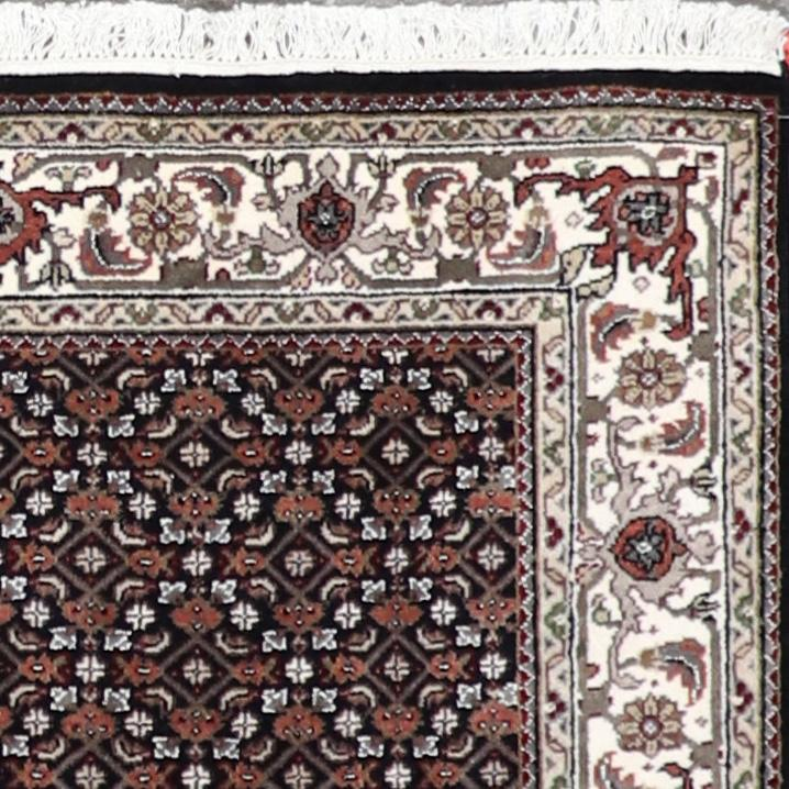 """4'1""""x6'1""""Traditional Bijar Black Wool Hand-Knotted Rug - Direct Rug Import   Rugs in Chicago, Indiana,South Bend,Granger"""