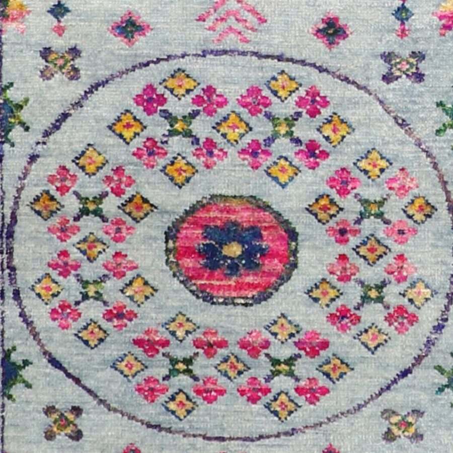 """3'x9'9"""" Decorative Gay,Green & Pink Wool & Silk Hand-Knotted Rug - Direct Rug Import   Rugs in Chicago, Indiana,South Bend,Granger"""