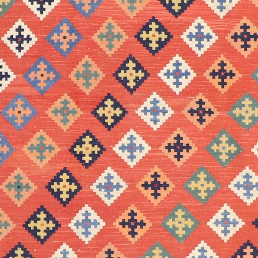 """4'1""""x5'9"""" Persian Kilim Orange Wool Hand-Knotted Rug - Direct Rug Import 