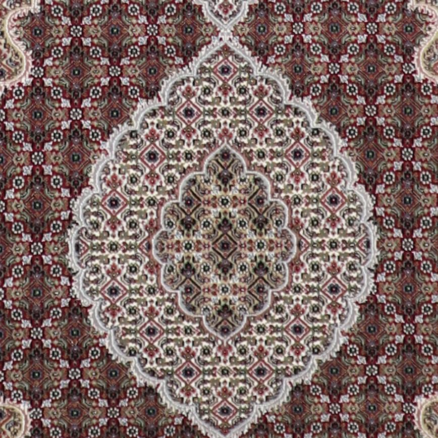 """4'1""""x6'1"""" Traditional Tabriz Red Wool and Silk Hand-Knotted Rug - Direct Rug Import   Rugs in Chicago, Indiana,South Bend,Granger"""