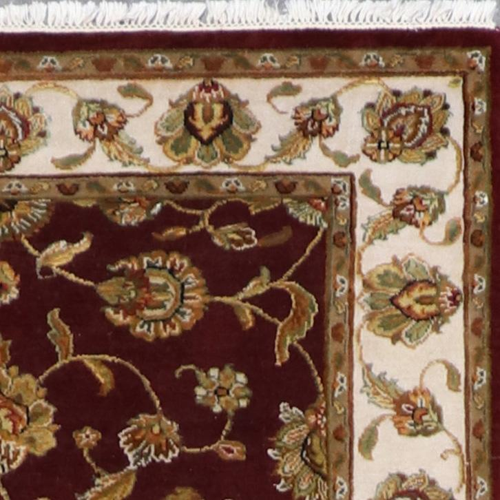 """4'x6'2"""" Traditional Dark Red and Gold Wool &Silk Hand-Knotted Rug - Direct Rug Import 