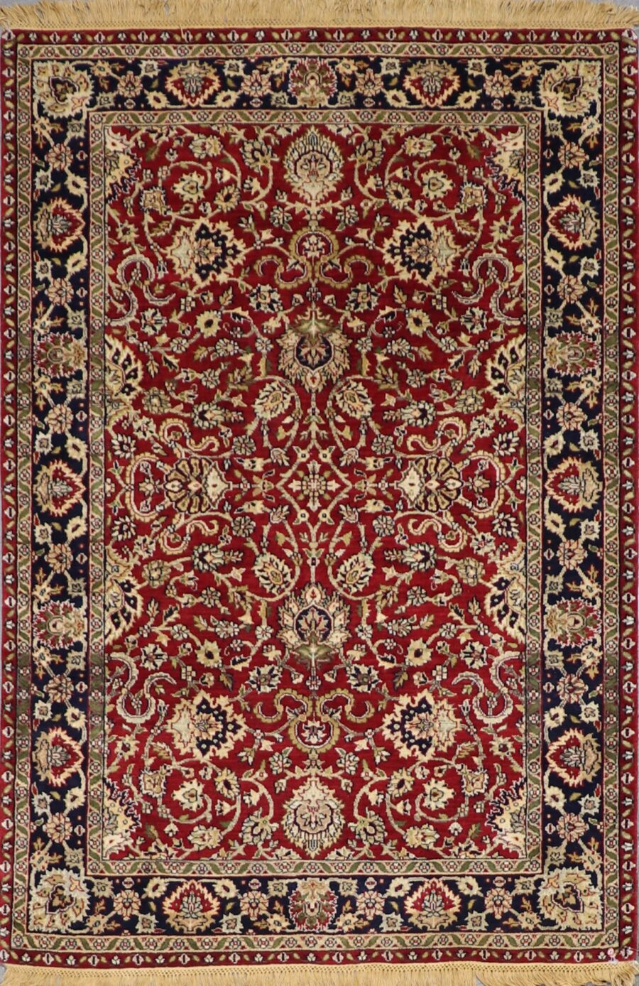 """4'3""""x6'3"""" Traditional Red Wool Hand-Knotted Rug - Direct Rug Import 