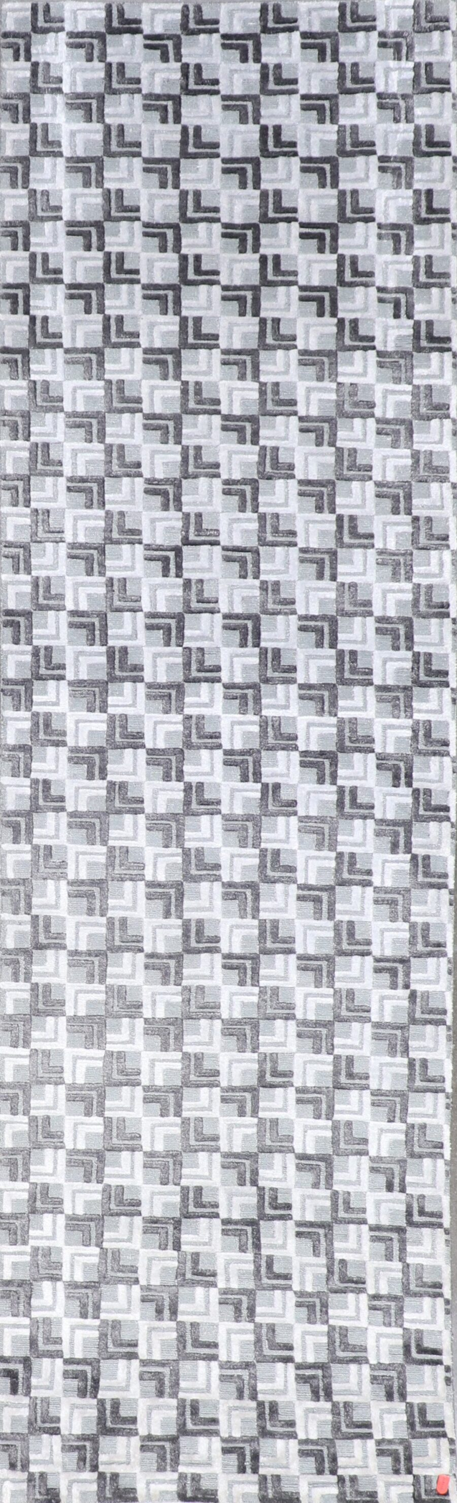 """2'9""""x10' Transitional Gray & Silver Wool & Silk Hand-Knotted Rug - Direct Rug Import 