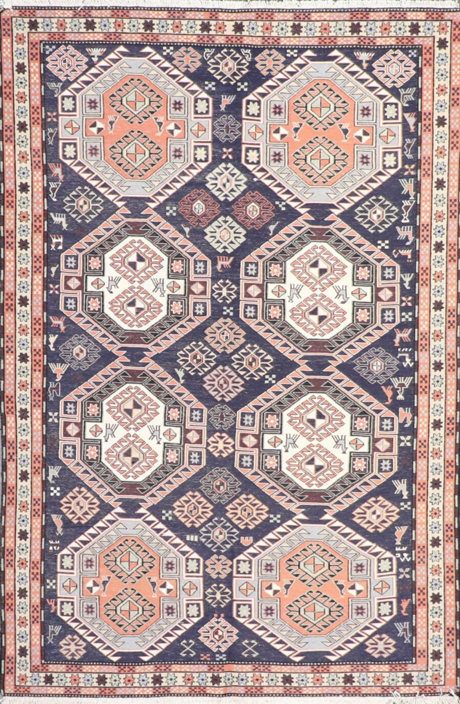 """4'2""""x6'4""""Persian Kilim Navy Wool Hand-Knotted Rug - Direct Rug Import   Rugs in Chicago, Indiana,South Bend,Granger"""