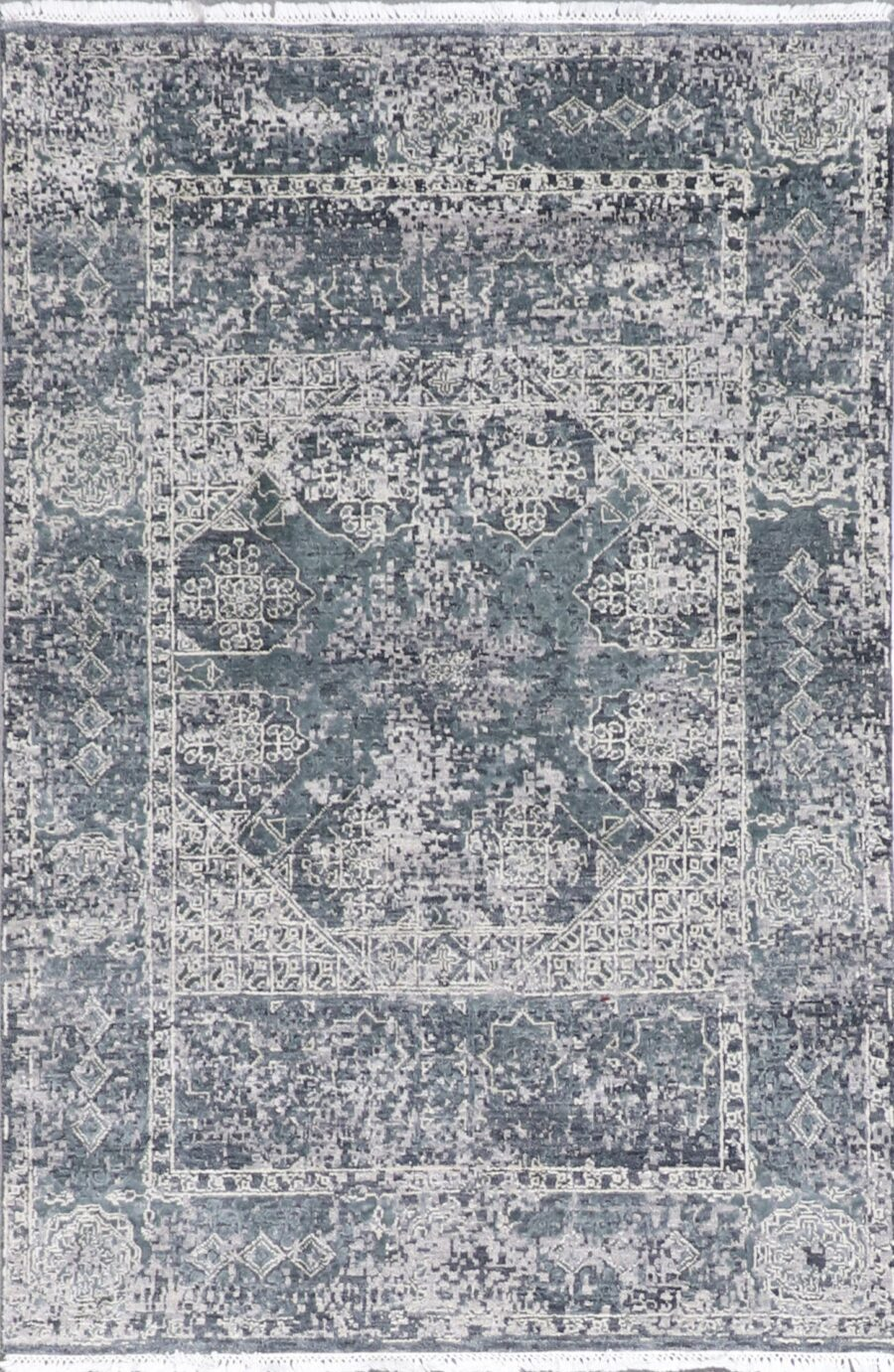 """4'1""""x6'2"""" Transitional Gray Wool Hand-Knotted Rug - Direct Rug Import 