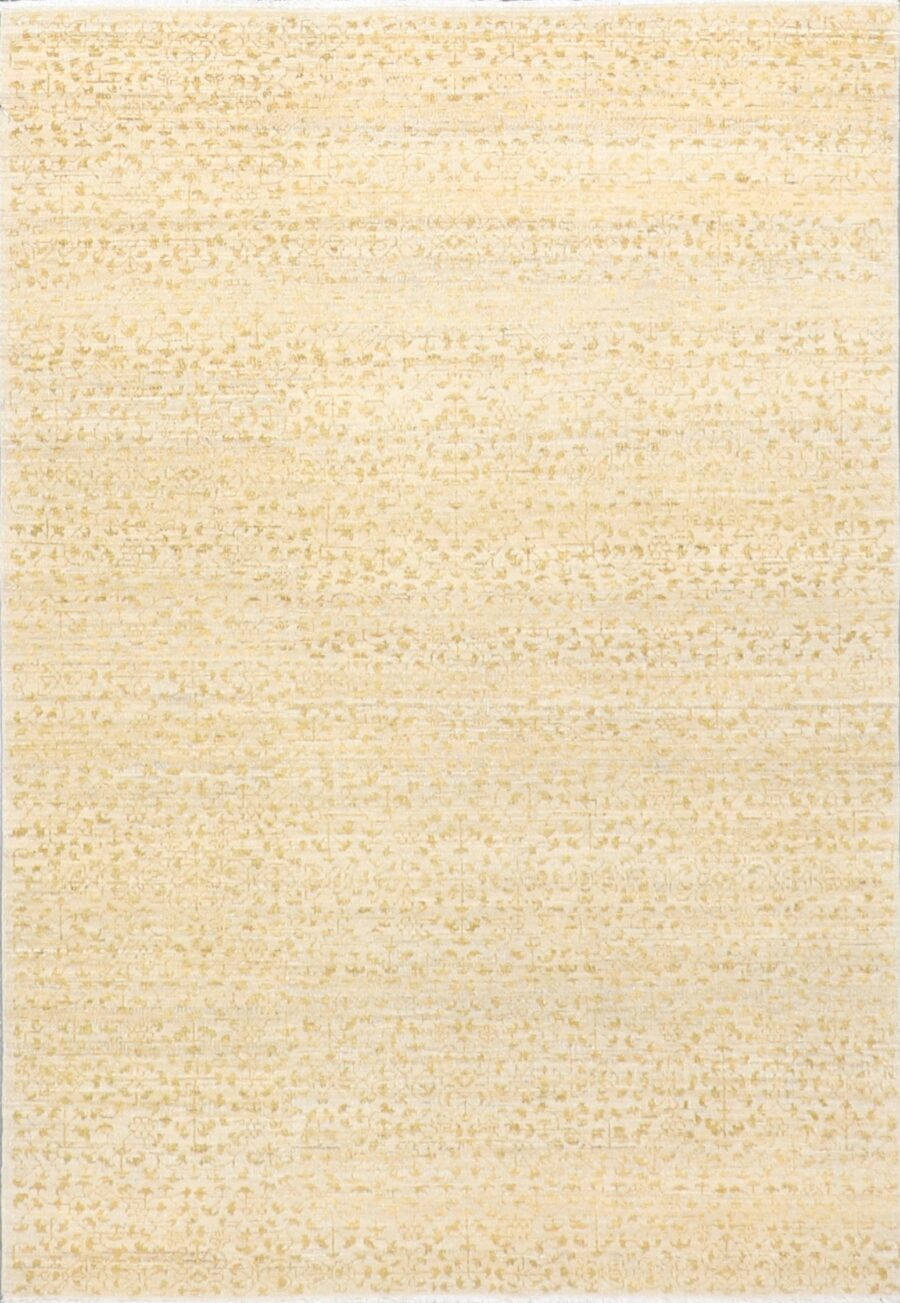 """4'2""""x6'3"""" Transitional Tan and Gold Wool Hand-Knotted Rug - Direct Rug Import 