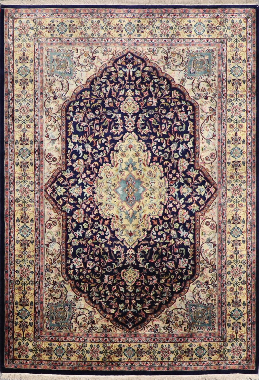 """5'5""""x9'9"""" Traditional Navy Tabriz Wool Hand-Knotted Rug - Direct Rug Import 