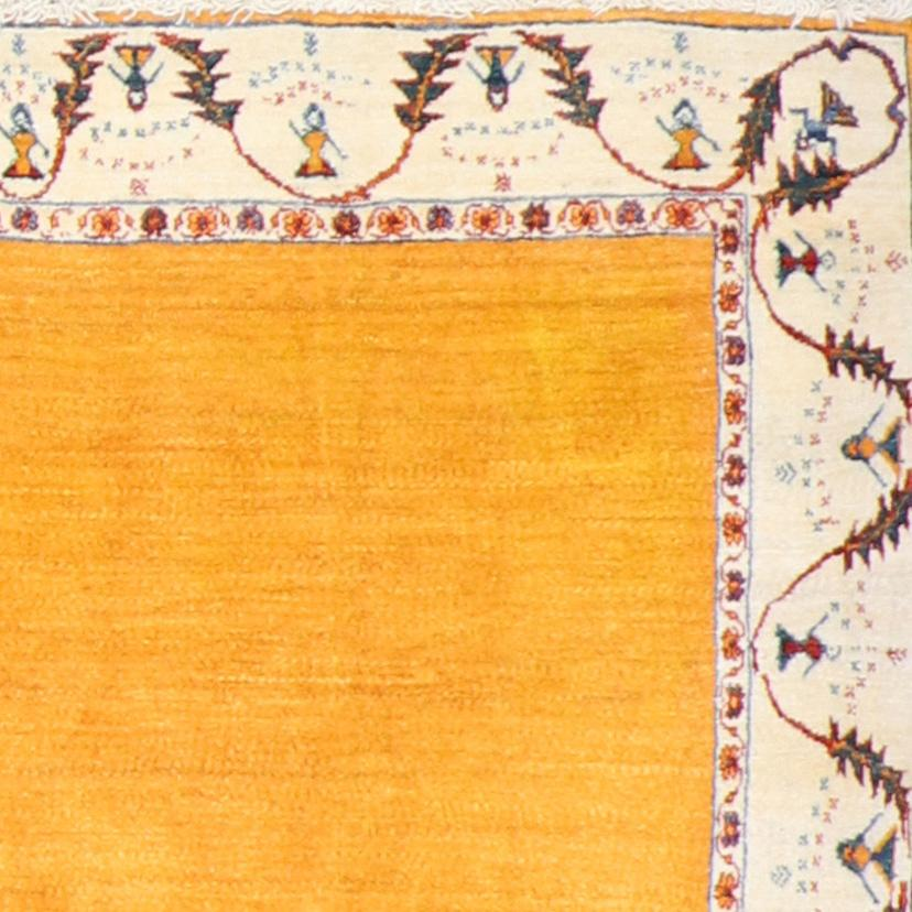 """4'8""""x6'1"""" Classic Gasbbeh Persian Yellow Wool Hand-Knotted Rug - Direct Rug Import 