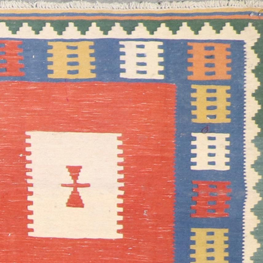 """4'11""""x6'8"""" Persian Kilim Orange Wool Hand-Knotted Rug - Direct Rug Import   Rugs in Chicago, Indiana,South Bend,Granger"""