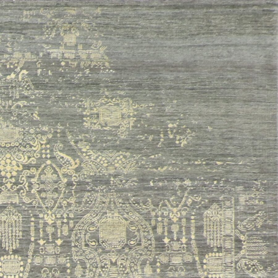 """6'1""""x9'1"""" Transitional Gray Wool & Silk Hand-Knotted Rug - Direct Rug Import 