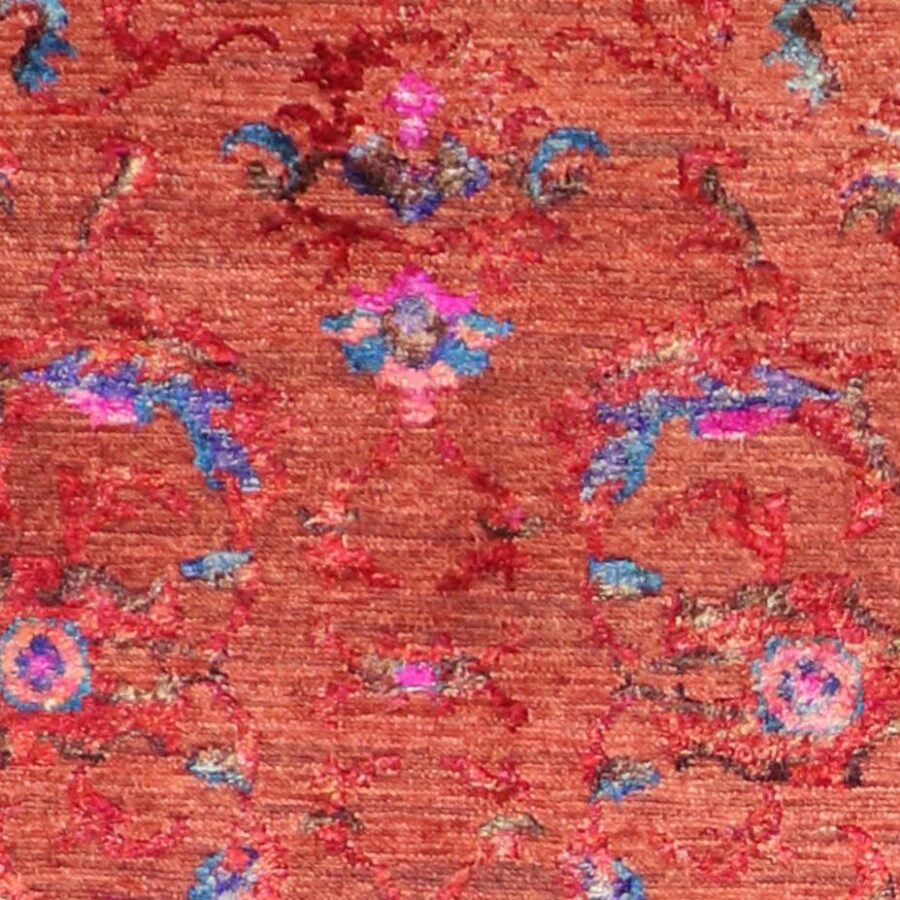 """2'9""""x9'10"""" Decorative Red & Pink Wool & Silk Hand-Knotted Rug - Direct Rug Import   Rugs in Chicago, Indiana,South Bend,Granger"""