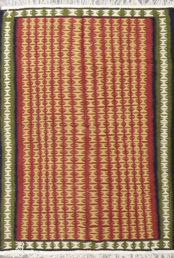 """3'3""""x4'5""""Persian Kilim Multi-Colored Wool Hand-Knotted Rug - Direct Rug Import   Rugs in Chicago, Indiana,South Bend,Granger"""