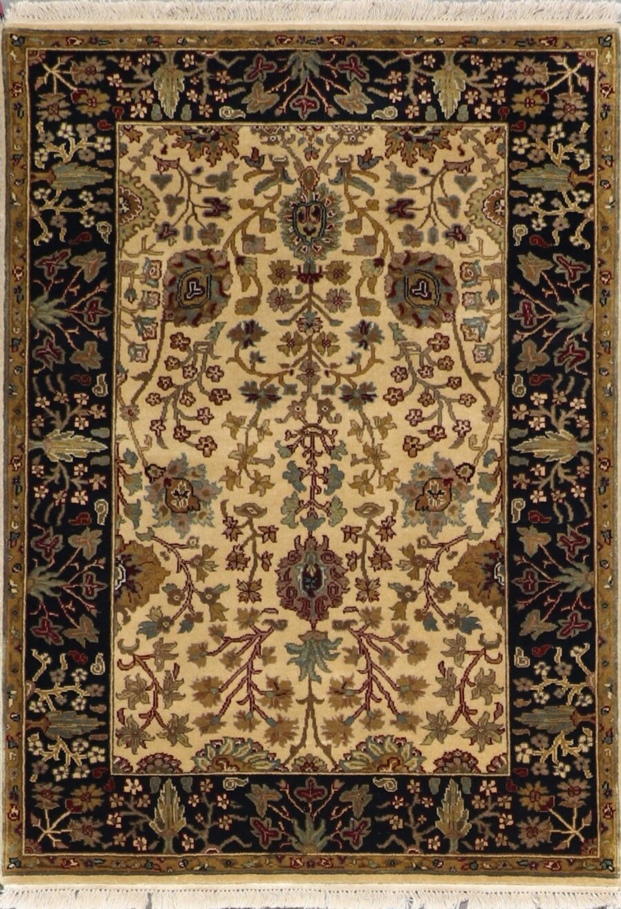 """4'2""""x6' Decorative Tan Wool Hand-Knotted Rug - Direct Rug Import 