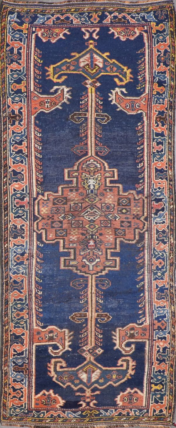"""3'4""""x8'7"""" Antique Traditional Navy Tribal Wool Hand-Knotted Rug - Direct Rug Import 